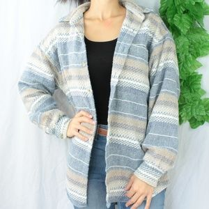 Vintage Blue & Tan Striped Tunic Oversized Top